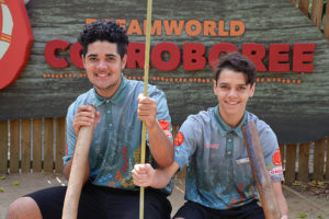 Ethan and Zaine the first Indigenous school-based trainees to sign up with Dreamworld Corroboree